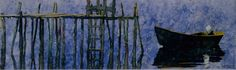 """wharf indian harbour. 14"""" x 40""""  micheal zarowsky watercolour on arches paper / private collection"""