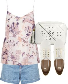 Untitled #4543 by florencia95 featuring a floral handbag  Boutique silk camisole top / Topshop high waisted shorts / ASOS laced flat, $31 / ASOS floral handbag
