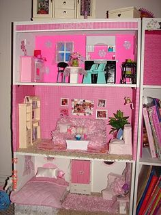 DIY Barbie House from a shelf - A girl and a glue gun I can't even contain myself.  I have to get started on this for Ilyasah right away!