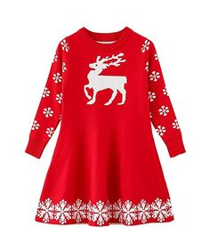55feecaf21 SMILING PINKER Little Girls Christmas Dress Reindeer Snowflake Xmas Gifts Winter  Knit Sweater Dresses (2