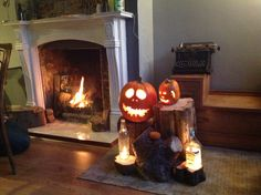 Halloween display indoors due to wind