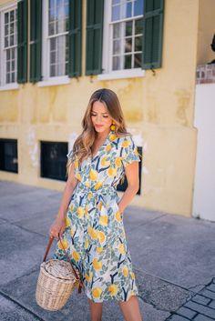 Gal Meets Glam Lemon Print  - Tuckernuck dress, Rebecca de Ravenel earrings & Birkin basket bag
