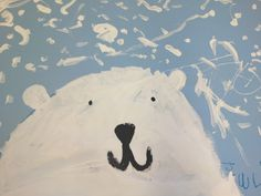 """This was such a fun painting project. I ordered the largest size construction paper (24 x 36) in pale blue. This gave it the """"wow"""" factor. I love large paintings! We drew the bears on the paper before painting. I gave the children crayons. Step One: I had the children draw a half moon shape …"""
