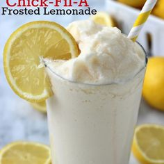 CopyCat Chick-fil-A Frosted Lemonade Recipe Beverages with lemon juice, sugar, water, vanilla ice cream. Substitute sugar free ice cream and sweetener to make low carb! Yummo!