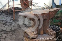 Photo about Old and rusty anvil in a workshop. Image of foundry, anvil, rendered - 73340044 Firewood, Workshop, Objects, Stock Photos, Texture, Crafts, Image, Surface Finish, Woodburning