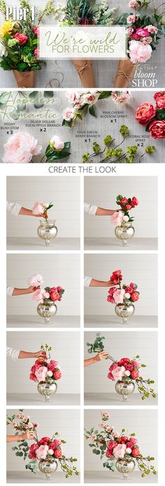 Passionate about roses peonies and the color pink? Show your home some love with Pier Hopeless Romantic floral arrangement. Give your accent table or buffet a high-style update thats especially swoon-worthy. Wedding Flower Arrangements, Floral Centerpieces, Wedding Centerpieces, Wedding Flowers, Wedding Table, Table Arrangements, Creative Flower Arrangements, Peony Arrangement, Wedding Plants