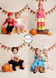 Use a simple backdrop like Bone seamless paper with a festive Halloween banner and props for a quick Halloween mini session setup!