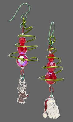 Christmas Tree Wirework Earrings with Czech Fire-Polished Glass Beads and Christmas Charms. #Christmasjewelry #DIYjewelry #holiday