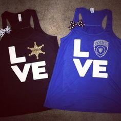 Love - Police - Sheriff - Tank - Girlfriend - Police Wife - Wife Apparel - Ruffles with Love Police tank - Blue tank with white lettering Police Girlfriend, Cop Wife, Police Officer Wife, Police Wife Life, Police Family, Sheriff Deputy Wife, Detective, Police Love, Vinyl Shirts