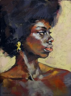 """A Gold and Onyx Earring,"" original portrait painting by artist John Markese (US) available at Saatchi Art. African American Art, African Art, Art Perle, Natural Hair Art, Portrait Art, Portraits, Oeuvre D'art, Figurative Art, Love Art"