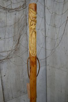 Staff Wood Spirit Walking Stick Carving  Staff by CreationCarvings