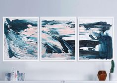Set of 3 Prints 3 Pink and Blue Abstract digital downloads