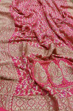 Pink Banarasi Bandhani Pure Georgette Saree 7738869115 OR 7710801701 Banaras Sarees, Bandhani Saree, Kanchipuram Saree, Pure Georgette Sarees, Georgette Fabric, Pure Silk Sarees, Sari Fabric, Pink Fabric, Indian Bridal Outfits