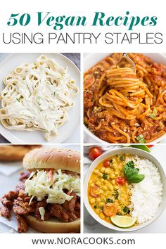 50 Vegan Recipes Using Pantry Staples - Nora Cooks - 50 vegan recipes using pantry staples! Save some time and money by using what you already have in your pantry to make delicious vegan meals. Vegan Dinner Recipes, Veggie Recipes, Whole Food Recipes, Vegetarian Recipes, Cooking Recipes, Healthy Recipes, Good Vegan Recipes, Vegan Foods, Vegan Dishes