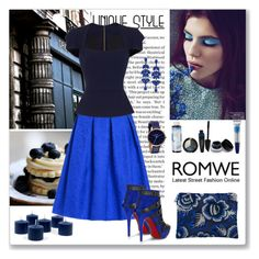 """""""Romwe blue midi skirt"""" by ludmyla-stoyan ❤ liked on Polyvore featuring Forest of Chintz, e.l.f., Bobbi Brown Cosmetics, Roland Mouret, Max Factor, L'Occitane, Nixon, skirt, Blue and romwe"""