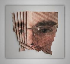 In his series 'Pro und Kontrabass' Austrian artist Aldo Tolino folds sculptural objects from photographs. Advanced Higher Art, Origami, Photo Sculpture, Geometric Sculpture, A Level Art, Portraits, High Art, Art Design, Art Plastique