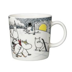 Skiing with Mr. Brisk Moomin Mug 2014 from Arabia by Tove Jansson, Tove Slotte Moomin Shop, Moomin Mugs, Moomin Valley, Tove Jansson, Christmas 2014, Mugs Set, Scandinavian Design, Finland, Childrens Books