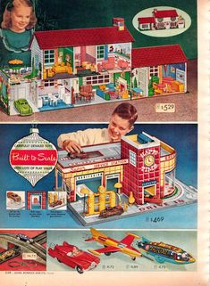 Vintage Dollhouse & Service Center from a 1955 Spiegel catalog. I had the doll house, wish I still had it. Christmas Catalogs, Christmas Books, Vintage Christmas, 1950s Toys, Retro Toys, Vintage Dollhouse, Vintage Dolls, Vintage Stuff, Childhood Toys