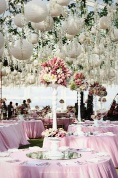 Have a bounty of beauty hanging above you and your guests at your wedding reception. During the day hanging lanterns and flowers provide shade and during the night they light up magically. A simpli… Wedding Lanterns, Tent Wedding, Wedding Reception Decorations, Wedding Table, Wedding Events, Dream Wedding, Wedding Day, Wedding Aisles, Wedding Backdrops