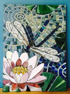 Dragonfly on Lily by Sophie Robins Mosaics