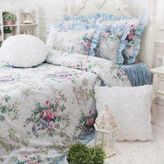 FADFAY Home Textile,Vintage Blue Floral Bedding Set,Romantic Pink Rose Print Bedding Set,Girls Fairy Bedding Sets FADFAY
