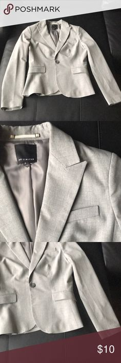 The Limited gray blazer Gray, one very small stain on the front as pictured- priced reduced.  Any measurement questions, just ask! The Limited Jackets & Coats Blazers