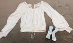 Free People Womens Boho White Top Shirt Size XS #FreePeople #BohoTop