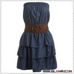 Denim strapless tiered dress with wide leather belt. Would add something interesting over shoulders, leggings and boots! Summer Outfits For Teens, 4th Of July Outfits, Dresses For Teens, Casual Dresses, Short Dresses, Summer Dresses, Summer Clothes, Pretty Outfits, Pretty Dresses