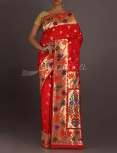 Reshma Colorful Maple Leaves Eminent Real Zari Pure #KatanSilkSaree