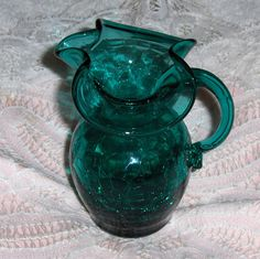 Vtg Aqua Green Crackle Glass Pitcher Teal Blue Ruffle Edged Art Glass Creamer #unknown #Vintageartglasspitchercreamer