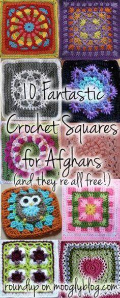 Free Crochet Squares    Link: http://www.mooglyblog.com/crochet-squares-for-afghans/