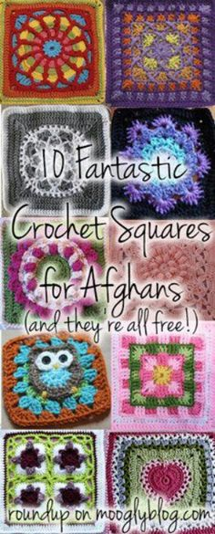 10 Fantastic Crochet Squares For Afghans - Free Crochet Patterns - (mooglyblog)