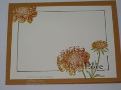 view of the inside of handmade card ... Field Flowers ... hand drawn line marking a wide border ... skips the image areas ...