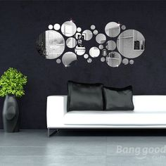 30pcs 3D Circle Mirror Wall Stickers Acrylic Vinyl Decal Home Art Decor at Banggood
