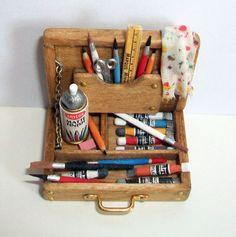 Miniature Artist Paint Box (1 inch dollhouse scale). $45.00, via Etsy.