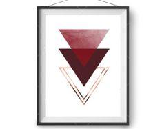 Red Printable Wall Art, Scandinavian Print, Geometric Design, Home Decor, Maroon Art, Triangles Print, Copper, Digital Poster, Textured Art