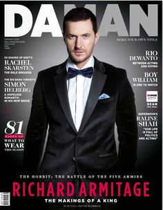 """Richard Armitage. @Photo: Mitchell Nguyen McCormack, 30-10-2014 for DAMAN magazine, Dec-Jan 2015, """"The Makings of a King"""". Cover."""