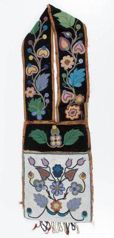 Native American Ojibwa Beadwork Bandolier Bag