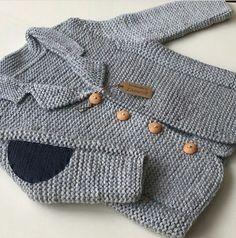 Likes, 45 Kommentare - Zümr . Baby Boy Knitting, Knitting For Kids, Baby Knitting Patterns, Crochet For Kids, Baby Patterns, Crochet Baby, Crochet Coat, Crochet Jacket, Baby Boy Cardigan