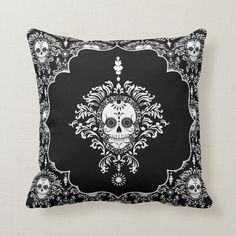 Dead Damask - Chic Sugar Skulls Throw Pillow - tap to personalize and get yours #throw #pillow, #day #of #the Theme Halloween, Halloween Patterns, Halloween Home Decor, Custom Pillows, Decorative Pillows, Day Of The Dead Artwork, Damask Bedding, Accent Pillows, Throw Pillows
