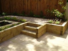 Softwood railway sleepers used for retaining walls and steps within the garden.
