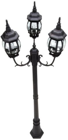 3 Head French Style Black Outdoor Yard Street Driveway Lighting Lamp Post