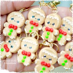 Ginger Bread Man Kawaii Charm Pendant Necklace Polymer Clay Miniature Food Jewelry made by Sweet Clay Creations