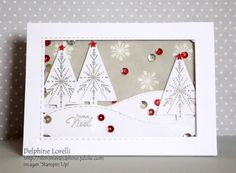 Shimmer and Shine - Joyeux Noël #StampinUp, #Christmas, #Trees, #Silver, #Red, #ShakerCard