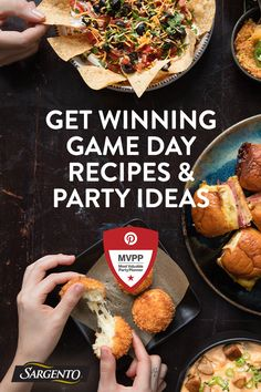 The Big Game is just days away and we're here with an all-star roster of game changing recipes and ideas for the perfect party. Get your board of personalized ideas with the MVPP (Most Valuable Party Planner), brought to you by Pinterest and Sargento. Game on! Appetizers For Party, Appetizer Recipes, Dinner Recipes, Tailgate Food, Tailgating, Great Recipes, Favorite Recipes, Good Food, Yummy Food