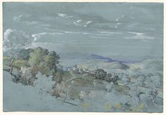 Image:Johann Georg von Dillis Gmain/Dorfen 1759–1841 Munich The Hills of Umbria near Perugia 1830/1832 watercolor and gouache over graphite on blue-green prepared paper