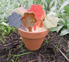 Ceramic Garden Markers, Set of 3, Flower Shapes in Assorted Glaze Colors , YOUR CHOICE herb or vegetable. These pretty ceramic garden markers are made of durable stoneware clay, perfect for adding some décor to your herb or vegetable garden. The unique flower shapes blend well in any garden or pot. Each marker is rolled, stamped and assembled from a slab of clay before being bisque fired to cone 04. Next they are glazed in beautiful color combinations and fired again to 2250 degrees (cone…