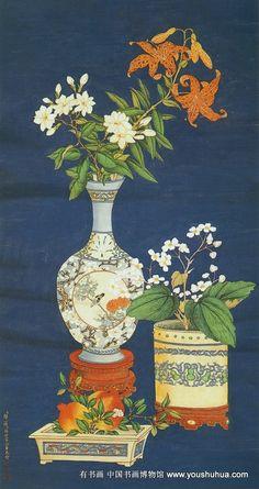 Zou Yigui (鄒一桂) , 清 邹一桂 郎世宁 清供四屏图 3. Korean Painting, Chinese Painting, Chinese Art, Japan Painting, Ink Painting, Korean Art, Asian Art, Oriental Flowers, Traditional Paintings