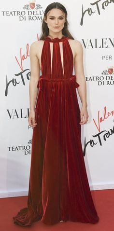 """Keira Knightley graced the """"La Traviata"""" Opening Gala in a scarlet red cut-out Valentino Haute Couture gown blanketed in plushy velvet."""