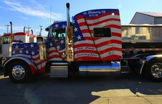 For Memorial Day we've collected some of the most patriotic semi truck pictures we could find. How does your rig stand up to these custom trucks? Semi Trucks, Big Rig Trucks, Cool Trucks, Custom Big Rigs, Custom Trucks, Peterbilt Trucks, Chevy Trucks, Pickup Trucks, Truck Drivers